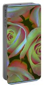Pink And Yellow Roses Pop Art Portable Battery Charger