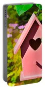 Pink Heart Birdhouse Portable Battery Charger