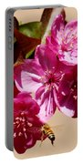 Bee Flying Pink Blossoms 031015a Portable Battery Charger