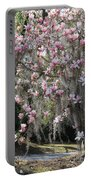 Pink Blossoms And Gray Moss Portable Battery Charger