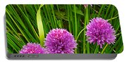 Pink Chives In Mackinac Island-michigan Portable Battery Charger