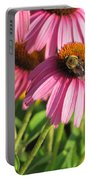Pink Flower And Bee Portable Battery Charger
