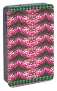 Pink Flower Petal Based Crystal Beads In Sync Wave Pattern Portable Battery Charger