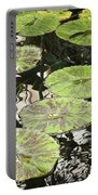 One Pink Water Lily With Lily Pads Portable Battery Charger
