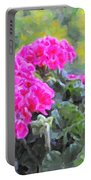 Pink Geraniums And Butterfly Portable Battery Charger