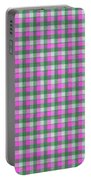 Pink Green And White Plaid Pattern Cloth Background Portable Battery Charger