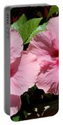 Pink Hibiscus Blooms Portable Battery Charger