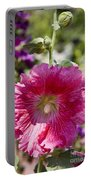 Pink Hollyhock Portable Battery Charger