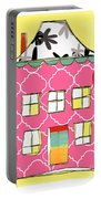 Pink House Portable Battery Charger by Linda Woods