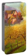 Pink House Yellow Field Portable Battery Charger