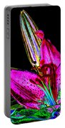 Pink Lily And Bud Pop Art Portable Battery Charger