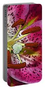 Pink Lily Painterly Portable Battery Charger