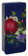 Pink Metallic Rose On Blue Portable Battery Charger