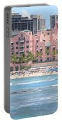 Pink Palace On Waikiki Beach Portable Battery Charger