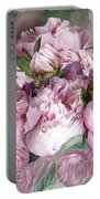 Pink Peonies Bouquet - Square Portable Battery Charger