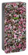 Pink Petals On Stones  Portable Battery Charger