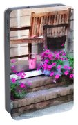 Pink Petunias And Watering Cans Portable Battery Charger