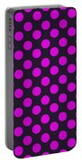 Pink Polka Dots On Black Fabric Background Portable Battery Charger