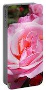 Pink Rose Flower Floral Art Prints Roses Portable Battery Charger