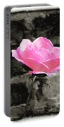 Pink Rose In Black And White Portable Battery Charger