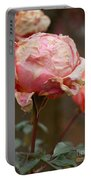 Pink Roses In The First Snow Portable Battery Charger