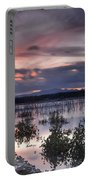 Pink Sunset At The Lake Portable Battery Charger