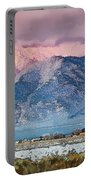 Pink Sunset On Taos Mountain Portable Battery Charger