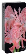 Pink Torch Ginger Trio On Black - No 2 Portable Battery Charger