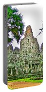 Pink Tower In The Bayon In Angkor Thom In Angkor Wat Archeological Park Near Siem Reap-cambodia Portable Battery Charger