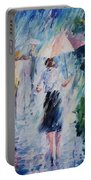 Pink Umbrella - Palette Knife Oil Painting On Canvas By Leonid Afremov Portable Battery Charger