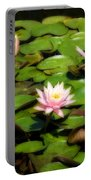 Pink Water Lilies Soft Focus Portable Battery Charger