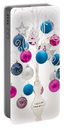 Pink White And Blue Christmas Portable Battery Charger by Anne Gilbert
