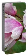 Pink White Wet Raindrops Magnolia Flowers Portable Battery Charger