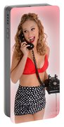 Pinup Girl On The Phone Portable Battery Charger