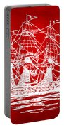 Pirate Ship Artwork - Red Portable Battery Charger