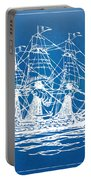 Pirate Ship Blueprint Artwork Portable Battery Charger by Nikki Marie Smith