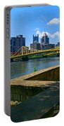 Pittsburgh Pennsylvania Skyline And Bridges As Seen From The North Shore Portable Battery Charger