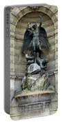 Place Saint Michel Statue And Fountain In Paris France Portable Battery Charger