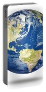 Planet Earth On White - America Portable Battery Charger by Johan Swanepoel