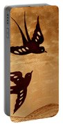 Playful Swallows Original Coffee Painting Portable Battery Charger