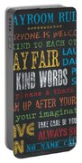 Playroom Rules Portable Battery Charger by Debbie DeWitt