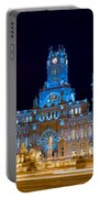 Plaza De Cibeles At Night In Madrid Portable Battery Charger