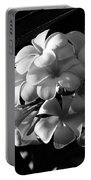Plumeria Black White Portable Battery Charger