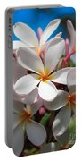 Plumerias Under A Blue Sky Portable Battery Charger