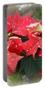 Poinsettia In Red And White Portable Battery Charger