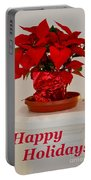 Poinsettia On A Pedestal - No 2 Portable Battery Charger