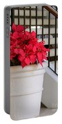 Poinsettias By The Stairway Portable Battery Charger