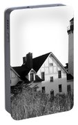 Point Iroquois Lighthouse In B/w Portable Battery Charger