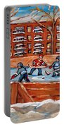 Pointe St. Charles Hockey Rink Southwest Montreal Winter City Scenes Paintings Portable Battery Charger