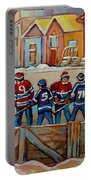 Pointe St. Charles Hockey Rinks Near Row Houses Montreal Winter City Scenes Portable Battery Charger